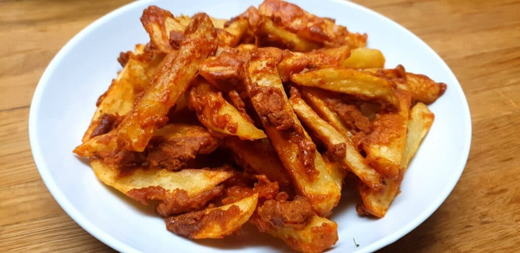 Masala Chips Recipe Fry on medium heat until chips are completely cooked through.